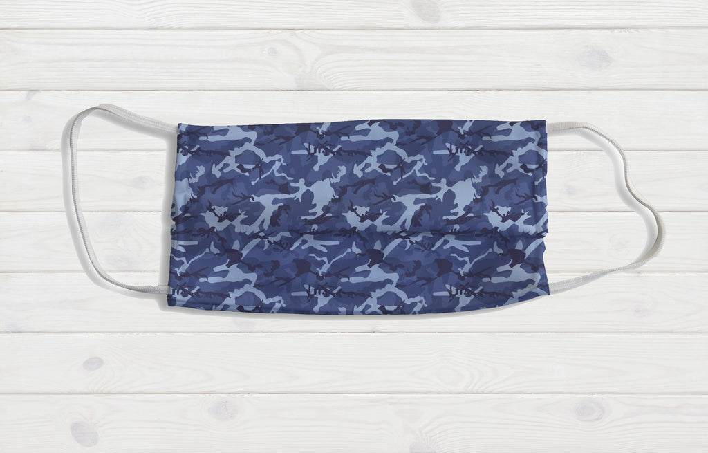 Blue Camo Face Mask - Potter's Printing
