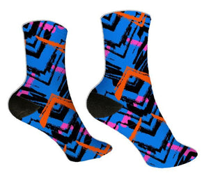 Blue & Orange Zig Zag Socks - Potter's Printing