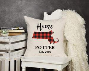 Buffalo Plaid State Pillow - Potter's Printing