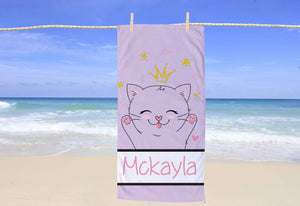 Kitten Personalized Beach Towel - Potter's Printing