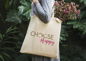 Choose Happy Tote Bag - Potter's Printing