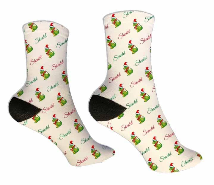 Dinosaur Personalized Christmas Socks - Potter's Printing