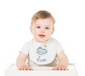 Bear in the Clouds Blue Personalized Baby Bib - Potter's Printing