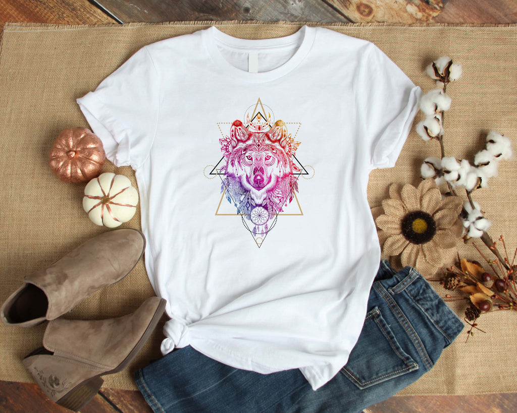 Graphic TEE Colorful Wolf