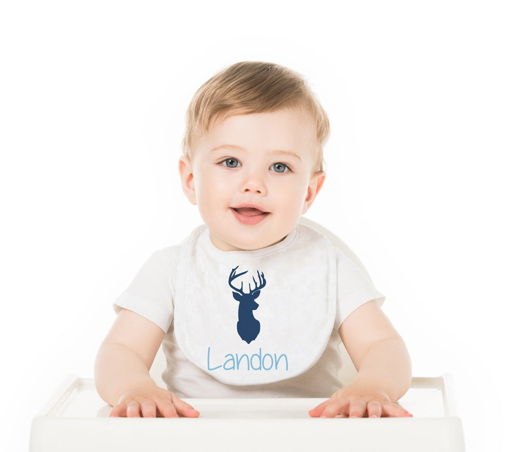 Deer Boy  Personalized Baby Bib - Potter's Printing