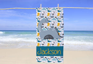 Dinosaur Personalized Beach Towel - Potter's Printing