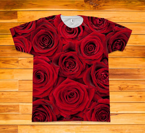 Red Roses Short Sleeve TEE Shirt - Potter's Printing
