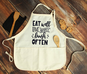 Eat Well, Live Simply, Laugh Often Personalized Apron - Potter's Printing