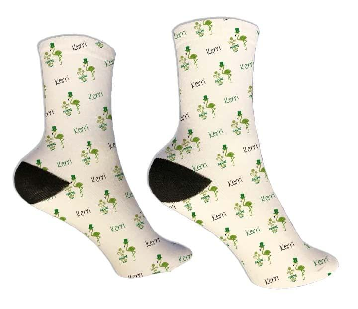 Flamingo Personalized St. Patrick's Day Socks - Potter's Printing