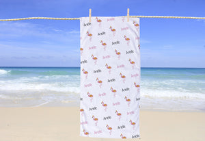 Flamingo Personalized Beach Towel - Potter's Printing