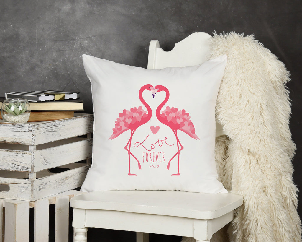 Flamingo Valentine Throw Pillow - Potter's Printing