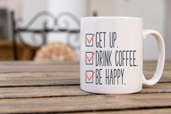 Get Up Drink Coffee Coffee Mug - Potter's Printing