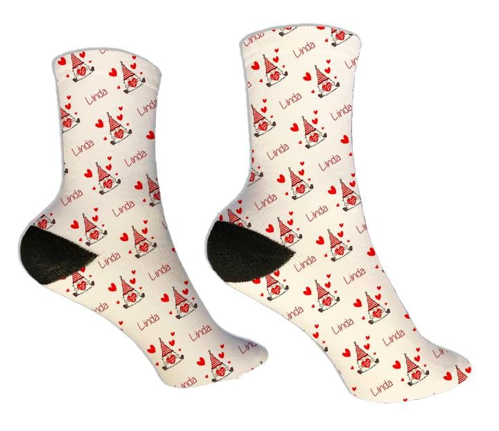 Gnome Personalized Valentine Socks - Potter's Printing
