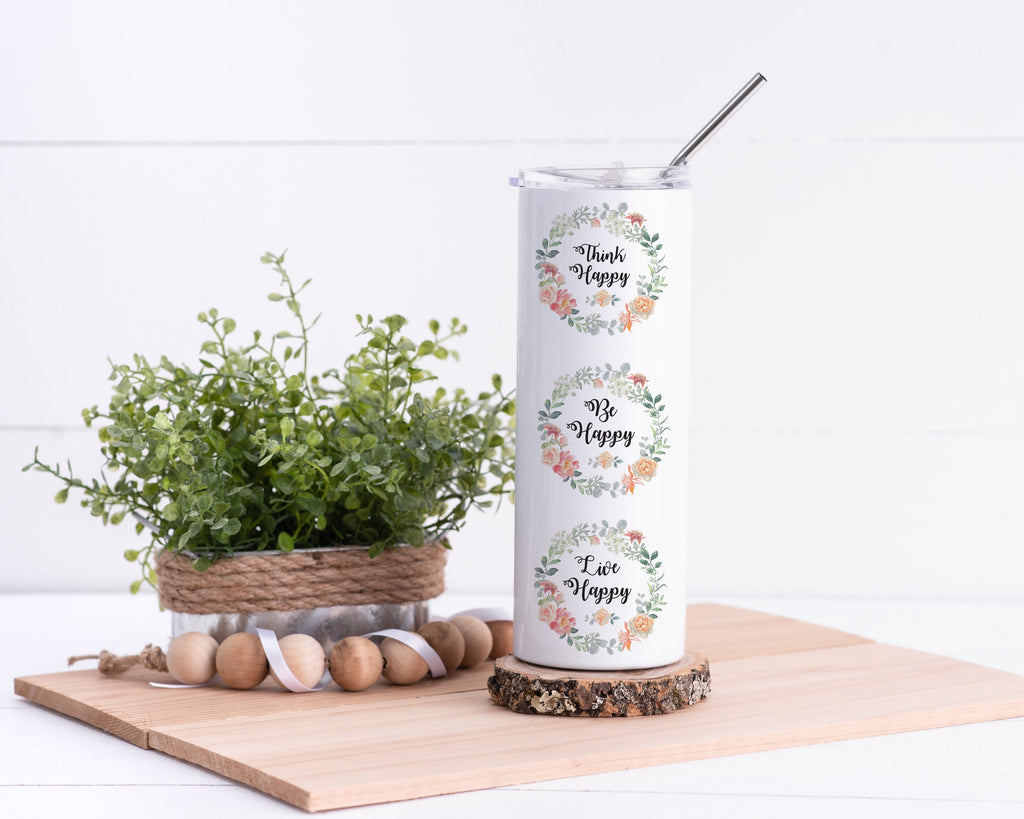 Be Happy Personalized Stainless Steel Tumbler