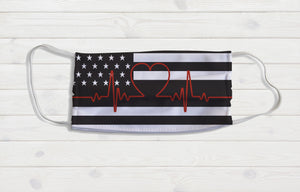 American Flag Heartbeat Face Mask - Potter's Printing
