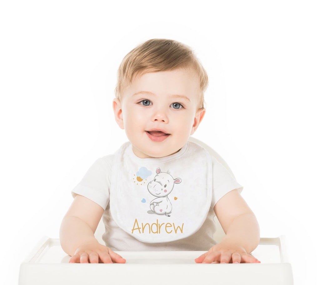 Hippo Personalized Baby Bib - Potter's Printing