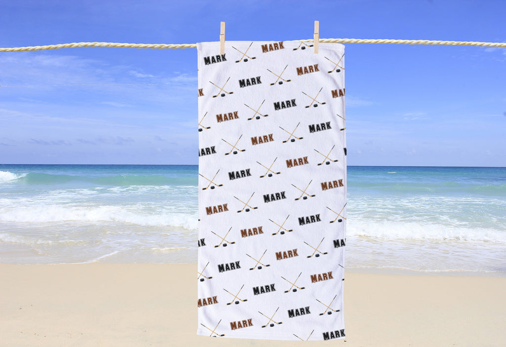 Hockey Personalized Beach Towel - Potter's Printing