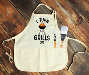 I Turn Grills On Personalized Apron - Potter's Printing