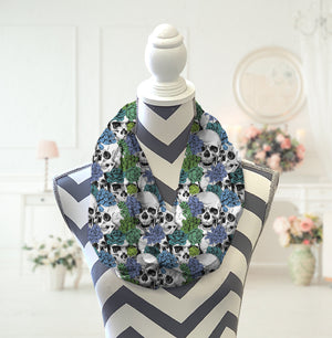 Skulls & Blue Flowers Infinity Scarf - Potter's Printing