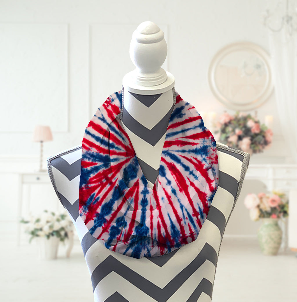 Red, White, & Blue Tie Dye Infinity Scarf - Potter's Printing