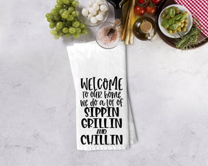 Sippin' Grillin' & Chillin' Kitchen Towel - Potter's Printing