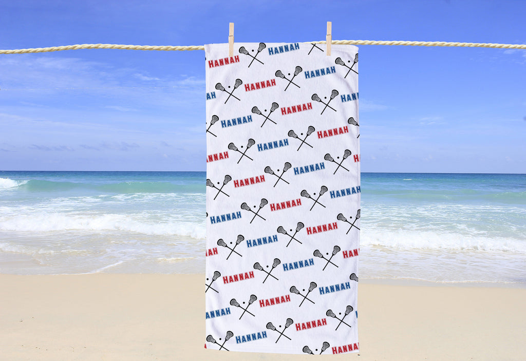 Lacrosse Personalized Beach Towel - Potter's Printing