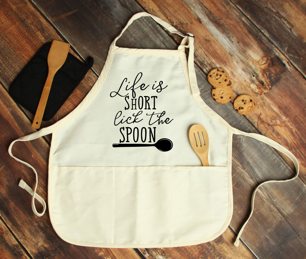 Life is Short, Lick The Spoon Personalized Apron - Potter's Printing