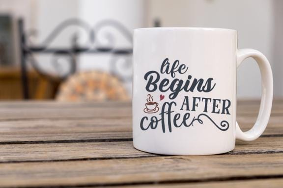 Life Begins Coffee Mug - Potter's Printing