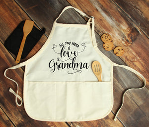 All You Need is Love & Grandma Personalized Apron - Potter's Printing