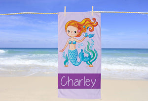 Mermaid Personalized Beach Towel - Potter's Printing