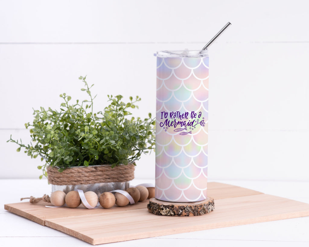 I'd Rather be a Mermaid Stainless Steel Tumbler - Potter's Printing