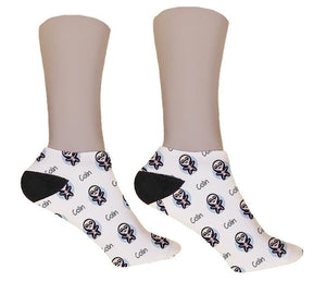 Cute Skeleton Personalized Halloween Socks - Potter's Printing