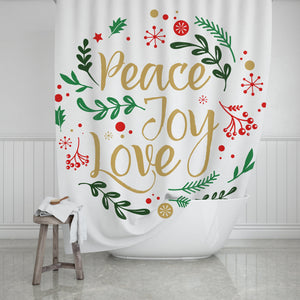 Peace, Joy, & Love Shower Curtain - Potter's Printing