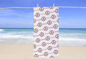 Peace Sign Personalized Beach Towel - Potter's Printing