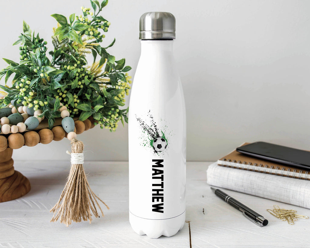 Personalized Soccer Stainless Steel Water Bottle