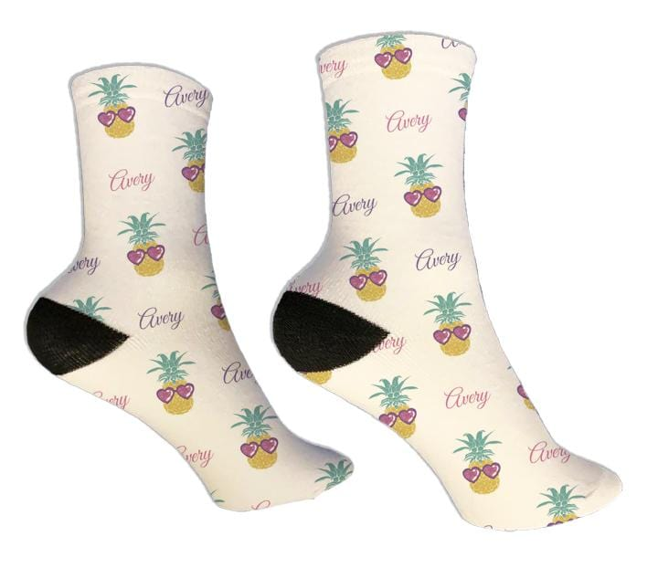 Pineapple Sunglasses Personalized Socks - Potter's Printing