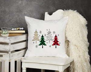 Plaid Trees Throw Pillow - Potter's Printing
