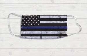 Police Flag Face Mask - Potter's Printing