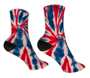 Red, White, & Blue Tie Dye Socks - Potter's Printing