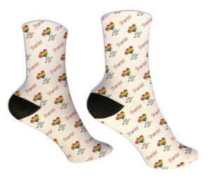 Rainbow Personalized Valentine Socks - Potter's Printing