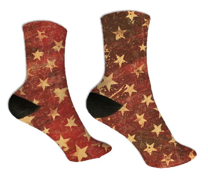 Red Distressed Stars Socks - Potter's Printing