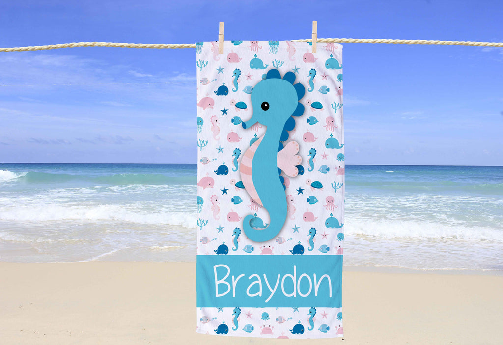Seahorse Personalized Beach Towel - Potter's Printing