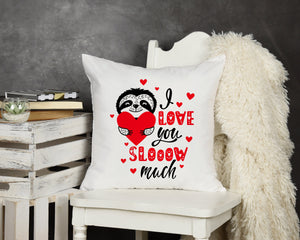 Sloth Valentine Throw Pillow - Potter's Printing