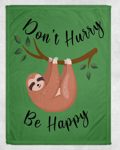 Don't Hurry Be Happy Sloth Blanket - Potter's Printing