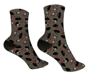 Frankenstein & His Bride Halloween Socks - Potter's Printing