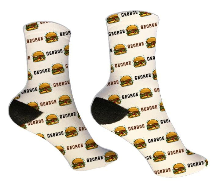 Cheese Burger Personalized Socks - Potter's Printing