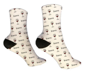 Wine Glass Personalized Socks - Potter's Printing