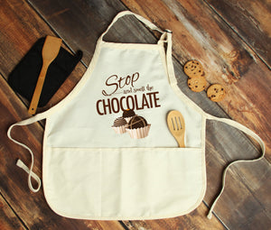 Stop & Smell The Chocolate Personalized Apron - Potter's Printing