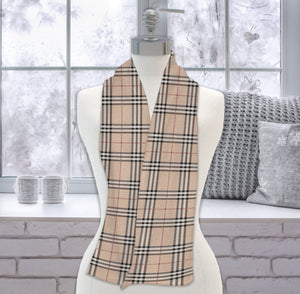 Tan Plaid Fleece Scarf