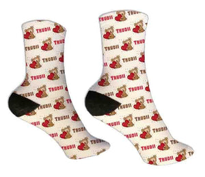 Teddy Bear Personalized Valentine Socks - Potter's Printing